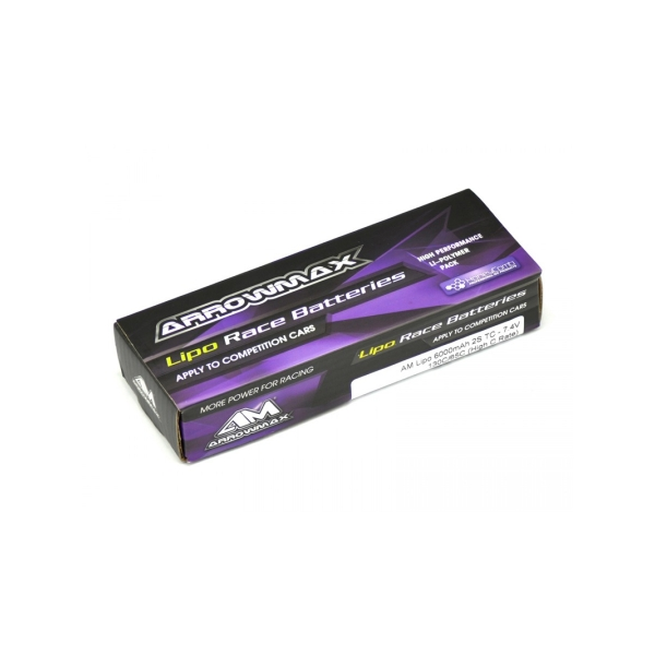 ARROWMAX Lipo 6000mAh 2S TC - 7.4V 65C Continuos 130C Burst (High C Rate) (139mm x 47mm x 25.1mm)